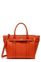 Mulberry Small Bayswater Zipped Leather Satchel Orange Bright Orange