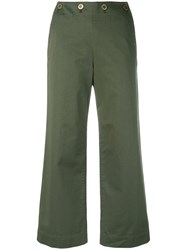 Theory Wide Leg Trousers Women Cotton 8 Green