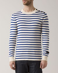 G Star White And Blue Striped Crew Neck Dadin Sweater