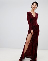Forever Unique Velvet Maxi Dress Deep Red