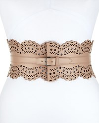 Alaia Wide Laser Cut Corset Belt Nude