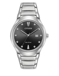 Citizen Eco Drive Diamond And Stainless Steel Bracelet Watch Black
