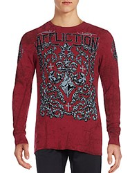 Affliction Long Sleeve Printed Tee Dirty Red