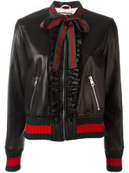 Gucci Ruffle Bomber Jacket Black