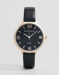Bellfield Watch With Rose Gold Case And Black Strap