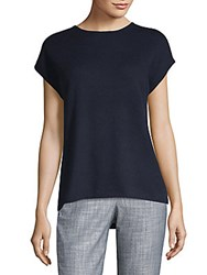 Saks Fifth Avenue Hi Lo Cashmere Knit Tee Navy