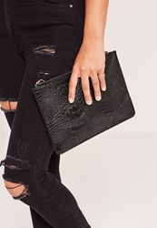 Missguided Zip Top Croc Clutch Bag Black Black