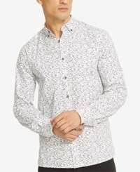 Kenneth Cole Reaction Men's Printed Button Down Shirt White Combo