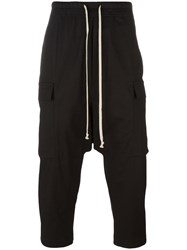 Rick Owens Cropped Drop Crotch Trousers Black