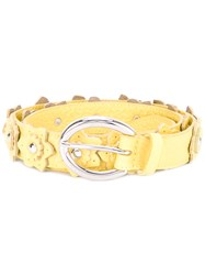 Orciani Flower Applique Belt Women Leather Brass 85 Yellow Orange