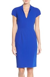 Betsey Johnson Women's Puffed Sleeve Scuba Sheath Dress Sapphire