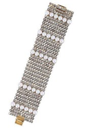 Elizabeth Cole Gold Tone Crystal And Faux Pearl Bracelet White