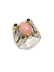 Konstantino Guava Agate Black Onyx And 18K Yellow Gold Ring No Color