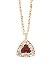Kc Designs Diamond Garnet And 14K Yellow Gold Necklace