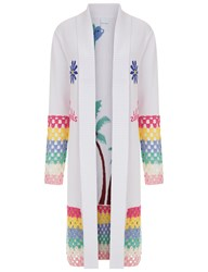Mira Mikati White So So Busy Crochet Cardigan Multi