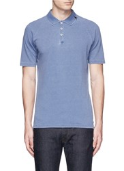 Denham Jeans 'Joey' Raglan Sleeve Polo Shirt Blue