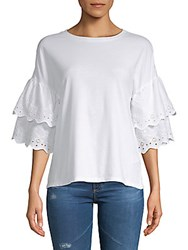 Beach Lunch Lounge Tiered Eyelet Cotton Blouse White