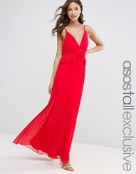 Asos Tall Pleated Skirt Maxi Dress With Ruffle Top Red Pink