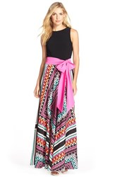 Women's Eliza J Jersey And Crepe De Chine Maxi Dress Pink Multi