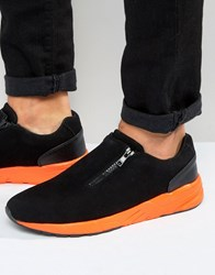Asos Zip Trainers In Black Faux Suede With Orange Sole Black