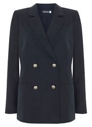 Mint Velvet Ink Tencel Military Blazer Dark Blue