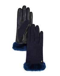 Ugg Smart Tech Gloves With Shearling Sheepskin Cuff Indigo