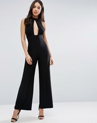 Love High Neck Keyhole Jumpsuit Black