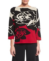 Joan Vass 3 4 Sleeve Rose Intarsia Sweater Petite Classic Red Combo