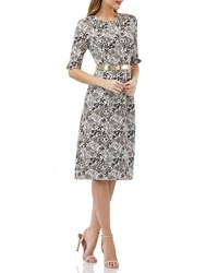 Kay Unger New York Stretch Jacquard Belted Dress W Pockets Ivory Multi