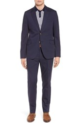 Kroon Irons Aim Classic Fit Solid Cotton Blend Suit Navy