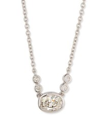 Memoire Bezel Set Oval Diamond Pendant Necklace In 18K White Gold 0.55 Tdcw
