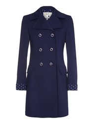 Yumi Double Breasted Ponte Trench Coat Blue