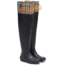 Burberry Check And Rubber Boots Black