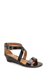 Women's Sofft 'Innis' Low Wedge Sandal Black Patent Leather