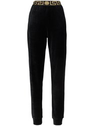 Versace Greek Key Trimmed Velvet Joggers Black