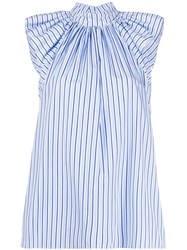 Victoria Beckham Striped Print Shirt Blue