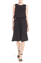 Petite Women's Caslon Sleeveless Cotton Blend Knit Drawstring Waist Dress Black