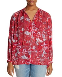 Lucky Brand Plus Fringe Neck Floral Print Peasant Blouse Red Multi