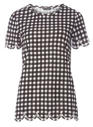Dorothy Perkins Tall Black Gingham Embroidered T Shirt