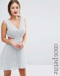 Asos Petite Embellished Side Cut Out Mini Dress Silver