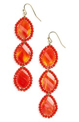 Panacea Women's Crystal Linear Drop Earrings Orange Multi