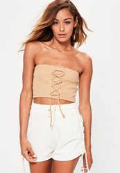 Missguided Camel Lace Up Detail Ribbed Bandeau Bralet