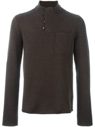 Maison Martin Margiela Buttoned Turtle Neck Jumper Brown