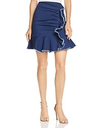 Lucy Paris Kylie Ruffled Ruched Denim Skirt 100 Exclusive
