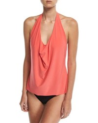 Magicsuit Sophie Solid Cowl Neck Tankini Swim Top Plus Size Orange