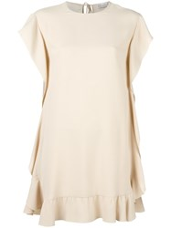 Red Valentino Ruffled Shift Dress Nude Neutrals