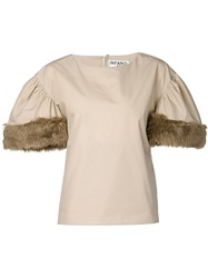 Infanonymous Faux Fur Sleeve Top Brown