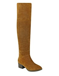 Tommy Hilfiger Gianna Suede Over The Knee Boots Cognac