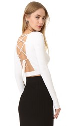 Cushnie Et Ochs Long Sleeve Crop Top White