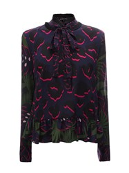 Markus Lupfer Black Navy And Hot Pink Leopard Spot And Monstera Silk Sophia Top Blue